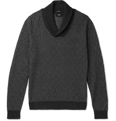 Hugo Boss Baik Shawl-Collar Cotton and Cashmere-Blend Sweater