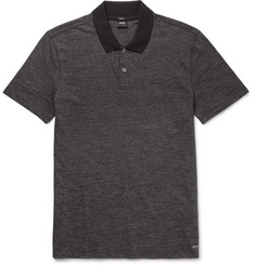Hugo Boss Contrast-Trimmed Mélange Cotton-Blend Polo Shirt