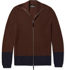 Helbers Two-Tone Cashmere, Wool and Silk-Blend Zip-Up Cardigan