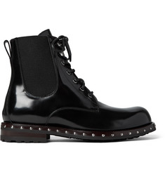 Dolce & Gabbana Studded Patent-Leather Boots