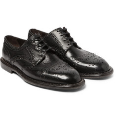 Dolce & Gabbana - Studded Distressed Leather Wingtip Brogues