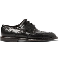 Dolce & Gabbana Studded Distressed Leather Wingtip Brogues