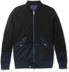 Sacai Panelled Cotton-Blend and Quilted Wool Bomber Jacket