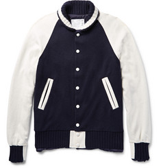 Sacai Two-Tone Wool and Cashmere-Blend Jacket