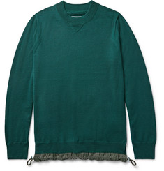 Sacai Shell-Trimmed Wool Sweater