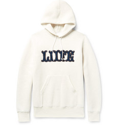 Sacai - Appliquéd Marl Cotton-Blend Jersey Hoodie