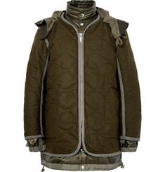 Sacai - Layered Quilted Wool and Shell Parka
