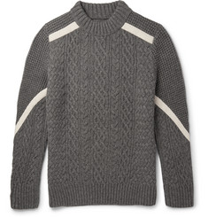 Sacai Cable and Waffle-Knit Wool Sweater