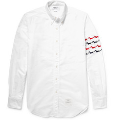 Thom Browne Hector Slim-Fit Embroidered Cotton Oxford Shirt