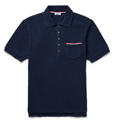 Thom Browne Slim-Fit Distressed Cotton-Jersey Polo Shirt
