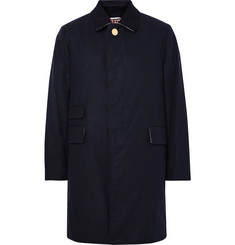 Thom Browne Moleskin-Trimmed Waxed-Cotton Raincoat