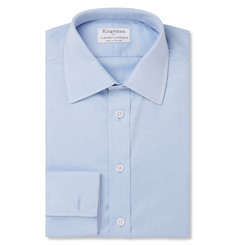 Kingsman - + Turnbull & Asser Blue Double-Cuff Cotton-Twill Shirt