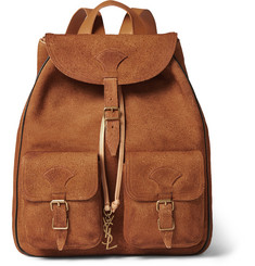 Saint Laurent Leather-Trimmed Suede Backpack