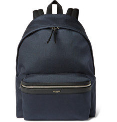 Saint Laurent - Leather-Trimmed Canvas Backpack