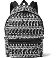 Saint Laurent Leather-Trimmed Skeleton-Print Canvas Backpack