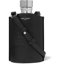 Saint Laurent Leather and Silver-Tone Flask