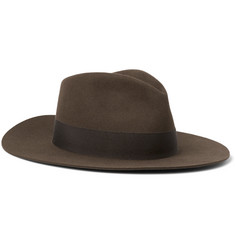 Saint Laurent Grosgrain-Trimmed Rabbit and Hare-Blend Felt Fedora