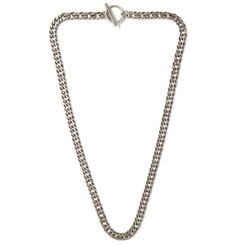 Saint Laurent Sterling Silver Curb Chain Necklace