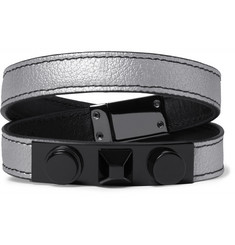 Saint Laurent Rhodium-Plated and Metallic Full-Grain Leather Bracelet