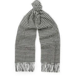 Saint Laurent Gingham Wool Scarf