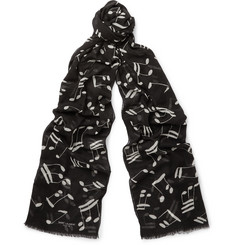 Saint Laurent Music Note Wool Scarf