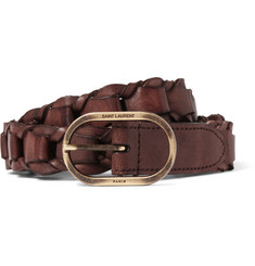 Saint Laurent 2.5cm Brown Braided Leather Belt