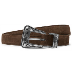Saint Laurent 2cm Brown Suede Belt