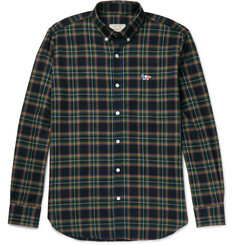 Maison Kitsuné Slim-Fit Button-Down Collar Checked Cotton Shirt