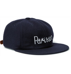 Maison Kitsuné Embroidered Wool-Blend Felt Baseball Cap