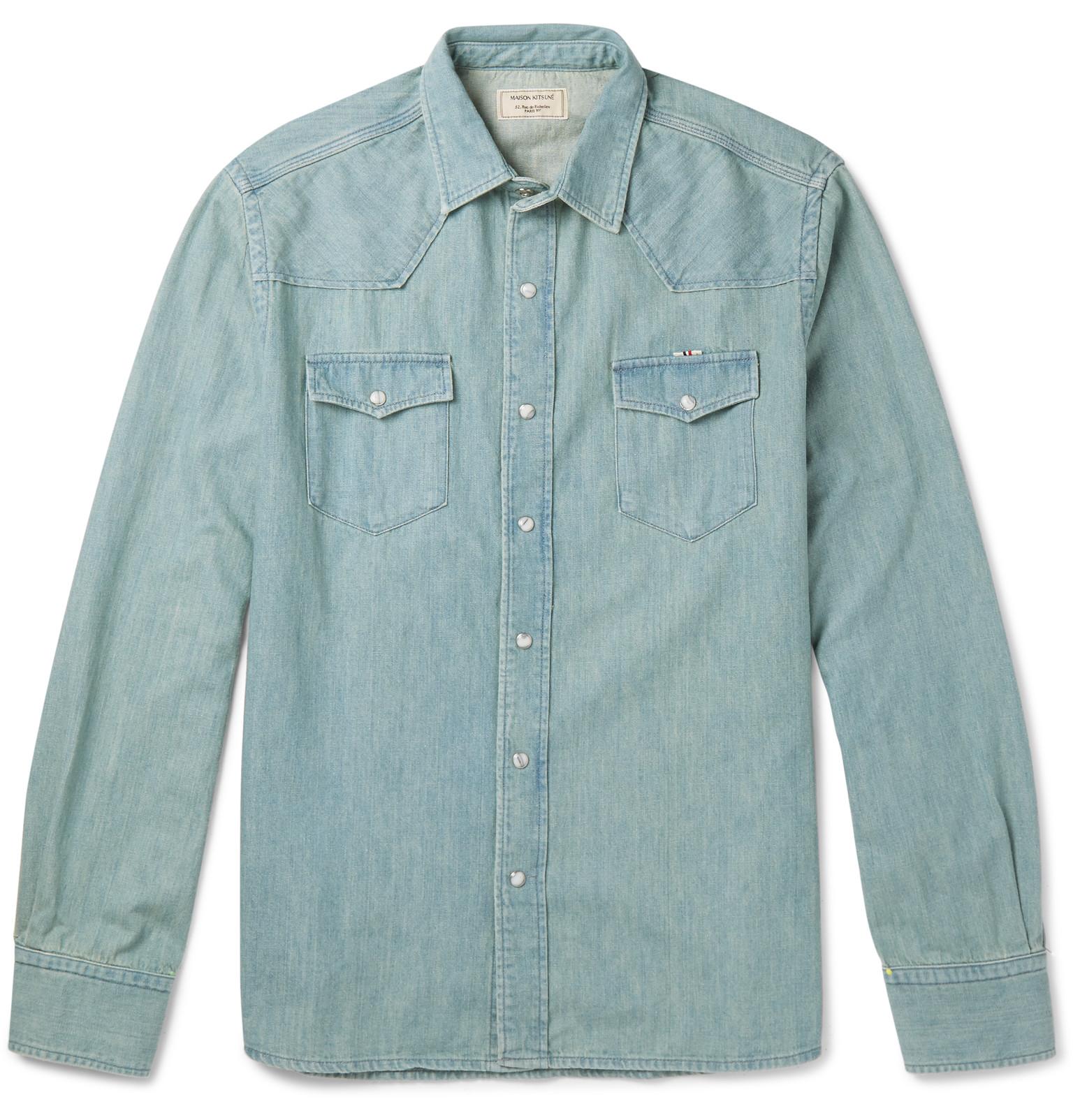Polo shirt design editor - Maison Kitsun Slim Fit Denim Shirt