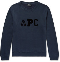 A.P.C. Flocked Fleece-Back Cotton-Blend Sweatshirt