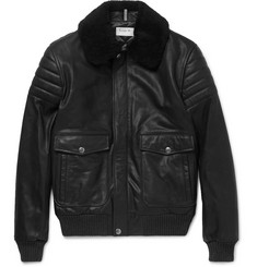 A.P.C. Shearling-Trimmed Leather Jacket
