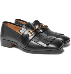 Gucci - Gran Duca Horsebit Fringed Grained-Leather Loafers