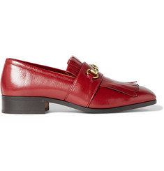 Gucci Gran Duca Horsebit Fringed Grained-Leather Loafers