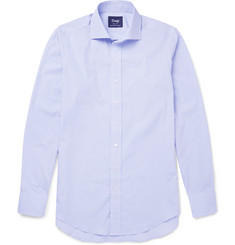 Drake's Spread-Collar Striped Cotton Shirt