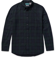 Blue Blue Japan Button-Down Collar Black Watch Checked Cotton-Flannel Shirt
