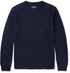 Blue Blue Japan Cotton Canvas-Panelled Indigo-Dyed Cotton-Blend Sweater