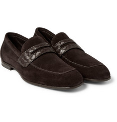 Bottega Veneta - Intrecciato Leather-Trimmed Suede Penny Loafters