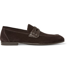 Bottega Veneta Intrecciato Leather-Trimmed Suede Penny Loafters