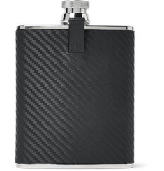 Dunhill - Chassis Embossed Leather and Stainless Steel Hip Flask