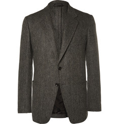 TOM FORD Grey Slim-Fit Herringbone Wool and Cashmere-Blend Blazer
