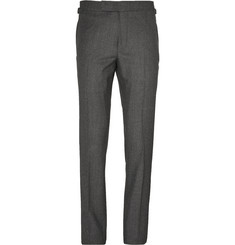 TOM FORD - Grey Birdseye Wool and Silk-Blend Flannel Suit Trousers