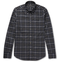 TOM FORD - Slim-Fit Button-Down Collar Plaid Brushed-Cotton Shirt