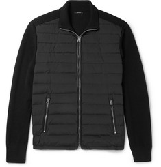 TOM FORD Quilted Shell-Panelled Ribbed Wool Zip-Up Cardigan