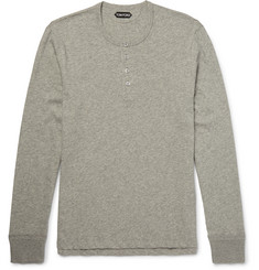 TOM FORD - Mélange Cotton-Jersey Henley T-Shirt