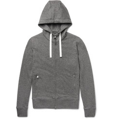 TOM FORD - Leather-Trimmed Mélange Cashmere and Cotton-Blend Zip-Up Hoodie
