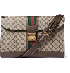 Gucci - Leather-Trimmed Monogrammed Coated-Canvas Messenger Bag