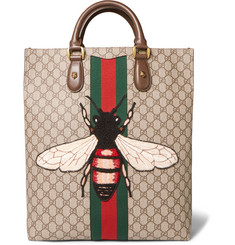 Gucci Web Animalier GG Supreme Leather-Trimmed Coated-Canvas Tote Bag