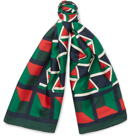 gucci male gucci printed silktwill scarf green