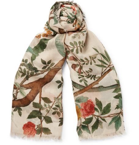 gucci male gucci botanicalprint wool and silkblend scarf white